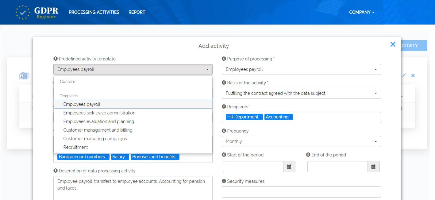 GDPR Records of processing activities template