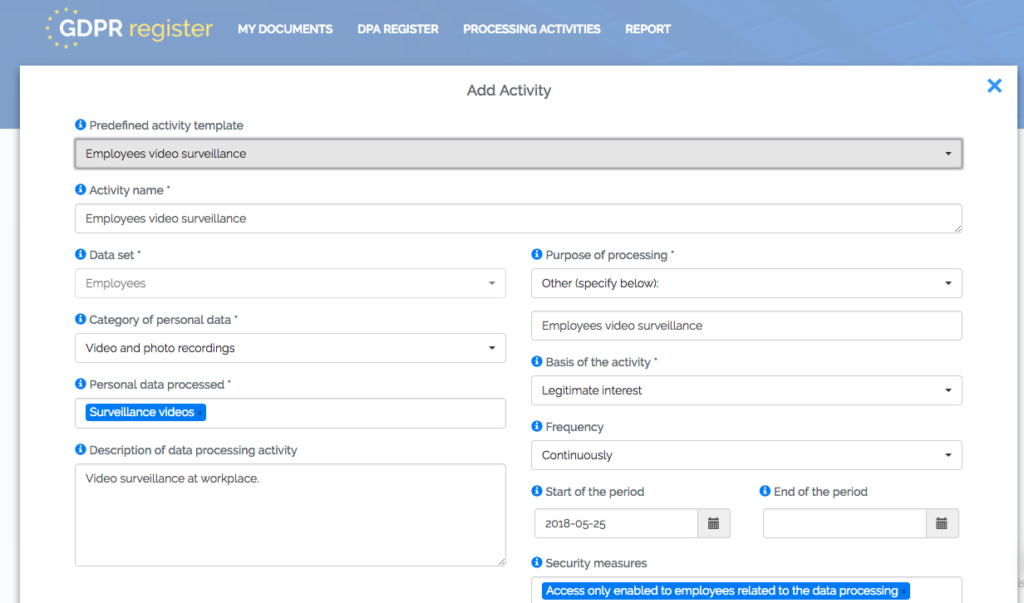 GDPR Register - Processing Activities