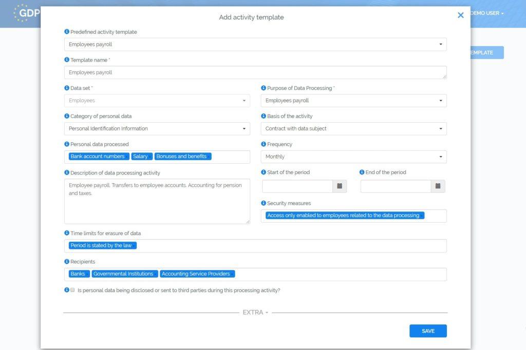 GDPR Register - Andmekaitsetoimingute mallid
