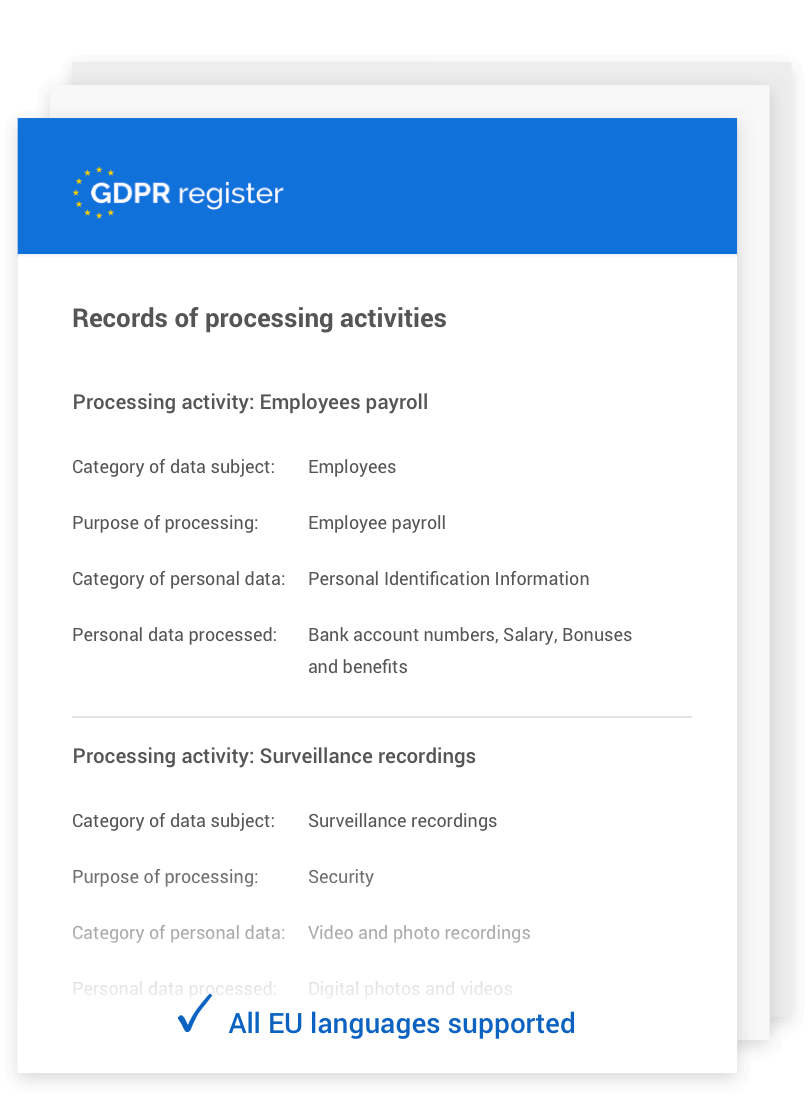 Gdpr Register Compliance Tool For Privacy Experts